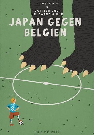**Japan VS Belgien** Plakat für WM-Match